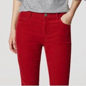 Ann Taylor Loft Red Curvy Boot Cordoroy Pant 10P